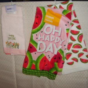 Kohl's Kitchen - 3 Spring Towels Happy Spring/Oh Happy Day! NWT